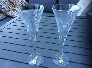 2 x WATERFORD Crystal * MILLENIUM Cut PROSPERITY WHEAT * CHAMPAGNE FLUTES * NEW