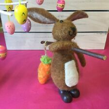 Brown Wool Bunny Easter Decoration Carrying Carrot Gisela Graham Rabbit Figurine
