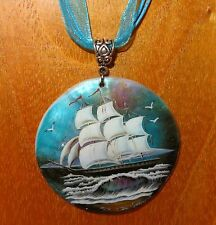 Genuine Russian hand painted NATURAL SHELL pendant SHIP White Sails Boat at sea