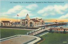 Ventnor City New Jersey~Municipal Pier~1940s Linen Postcard