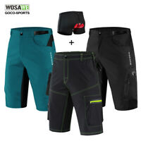 Mens Cycling Shorts Gel Padded MTB Mountain Bike Baggy Pants Adjustable Waist