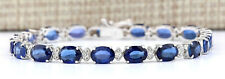16.96 Carat Natural Sapphire 14K White Gold Diamond Bracelet