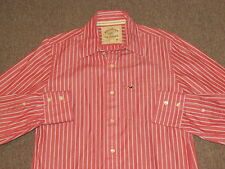 Hollister Mens Red White & Black Striped Button Down Front Dress Shirt S small