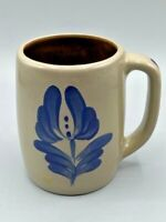 "Beaumont Brothers BBP Pottery Salt Glazed Mug Blue Flower 4 1/4"" EUC Vintage"