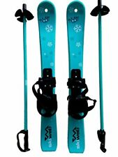 Plastic Snowflake Skis with Poles Perfect for Kids Age 2- 4 to Learn Skiing