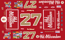 #27 Tim Richmond Old Milwaukee Beer 1/32nd Scale Slot Car Decals