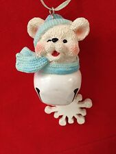 "White Blue 4"" Bear Bell Snowflake Ornament Figurine"