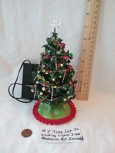 "Dollhouse Miniature 7""Christmas Tree Set #7(working lights)"