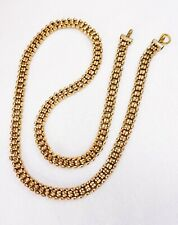 """19.25"""" Vintage gold filled circle mesh link Necklace fob chain for locket watch"""