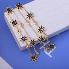 Women Elegant Fashion Earrings Gold Long Tassel Rhinestone Black Stars Jewelry