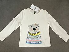 M&S IVORY LONG SLEEVE T.SHIRT- MULTI COLOUR BEAR FRONT & BACK- AGE 4-5y - BNWT