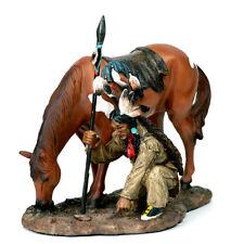 Indianer Spurenleser Krieger mit Pferd Western Wilder Westen Deko Figur I69