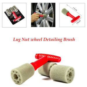 Loofah type Sponge Lug Nut Wheel Cleaning Detailing Brush PP Handle Removable