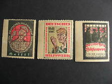 GERMANY 3 MNH war labels, some toning and faults, please check pictures