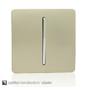 Trendi Switch Champagne Gold 1-Gang 1 way Artistic Modern Glossy Light Switch