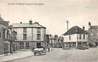POSTCARD FARINGTON - MARKET SQUARE - BELL HOTEL - VINTAGE CARS - CIRCA 1910