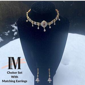 Necklace Earrings Set Ladies Womens Pakistani Indian Jewellery Artifical Choker