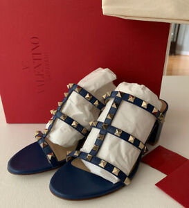 NIB Valentino Garavani Rockstud Caged Slide 60MM Blue Light Ocean size 37/7