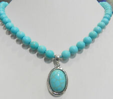 Natural 8mm Turkish turquoise necklace 16x22mm pendants 18''