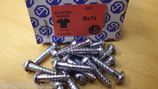"40 x  3/4"" x 8 CHROME PLATED ON  BRASS ROUND HEAD WOOD SCREWS SCREW SLOTTED"