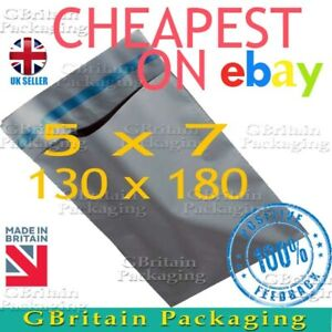 5 x 7 SMALL MAILING BAGS STRONG POLY POSTAGE POSTAL QUALITY SELF SEAL GREY
