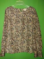 3199) J CREW 00 beige black paisley 100% silk pullover blouse long sleeve 00