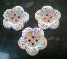 3 Extra Large Flower Shaped Wooden Buttons with Rainbow Bubbles 38mm