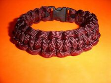 550 ParaCord Survival Cobra Braided Bracelet Maroon Colored - Fits up to 7 1/2""
