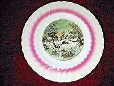 Rare Currier & Ives - The Homestead In Winter - Painting Decorative Plate Gold