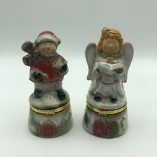 """SNOWMAN and ANGEL Ceramic Glazed Trinket Boxes with Hinges 4.5"""" (Lot of 2)"""