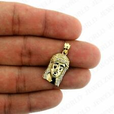 Real 10K Yellow Gold Jesus Face Charm Pendant Diamond Cut Small Jesus Charm