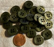 Lot of 24 NEW Dark Khaki Green Pearlized Plastic Buttons Almost 5/8