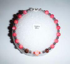 Handmade in USA HelaPro Beaded Anklet Ankle Bracelets Pink Color Size 9.75 inc.