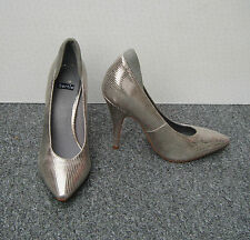 "Bertie Silver Leather Snake Print Court Shoes Size 4/37, Style ""Alpha"""