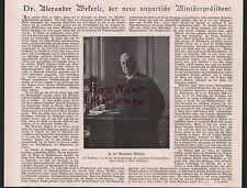 1917, Abbildung Dr. jur. Alexander Wekerle ungarischer Ministerpräsident WWI