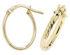 9 carat Yellow Gold Hoop Ladies Oval Diamond Cut Earrings 0.76gr