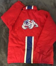 Vintage Spotlight Fresno State Bulldogs Striped Parka Jacket Hideable Hood L EUC