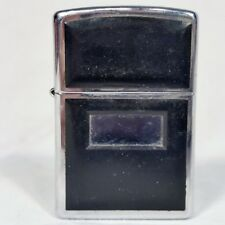 Zippo Lighter Black Sides with Blank Monogram Plate 1996 with New Flint WORKS