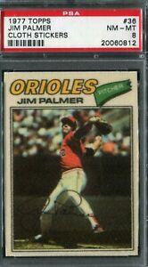 1977 Topps #36 Jim Palmer Cloth Sticker PSA 8 NM-MT
