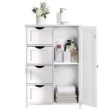 Badschrank Badezimmerschrank Hochschrank Badmöbel Schrank moderne Bad regal Weiß