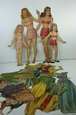 Seven & Seventeen Vintage Big Little Sister Paper Dolls Matching Clothing 1945