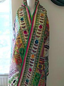 Phulkari dupatta Indian Pakistani Embroidered Fulkari Dupatta Large shawl scarf