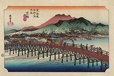 Japanese Art: Hiroshige Landscape: Keishi - Sanjo Ohashi Bridge - Fine Art Print