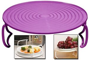Purple Microwave Tray 4-in-1 Food Cover Holder Round Plate Double Dish Rack NEW