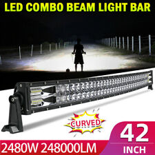 "Curved 42"" inch 2480W Dual-Row LED Light Bar Combo Driving Vehicle Truck Offroad"