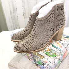 NIB JEFFREY CAMPBELL 'Medera' Cutout Ankle Booties Taupe Suede 10 M Retail $165