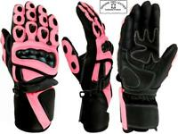 LADIES PINK HAWK WOMENS CE ARMOUR MOTORBIKE / MOTORCYCLE LEATHER GLOVES
