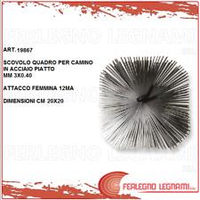 SCOVOLO QUADRO IN ACCIAIO  PER CAMINO-CANNE FUMARIE DIMENSIONI 20X20 ART. 19867