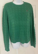 Women's Ralph Lauren Green Cable Knit Crew neck Long Sleeve Sweater Size XL
