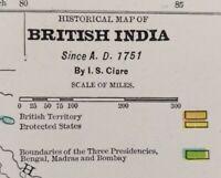 "Vintage 1900 BRITISH INDIA A.D 1751 Map 11""x14"" ~ Old Antique Original HYDERABAD"